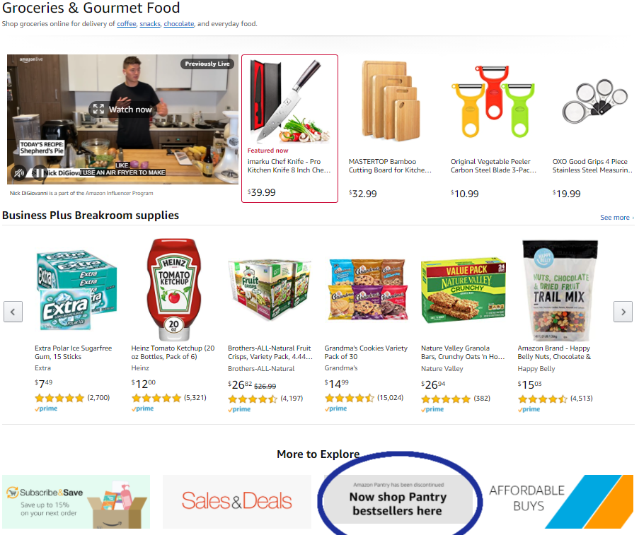 Amazon offers Prime Pantry shoppers alternatives.