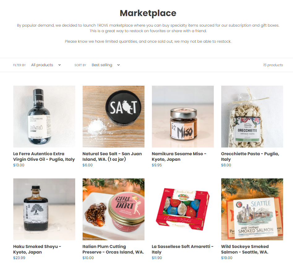 The TROVE online marketplace features items previously offered in travel subscription boxes. This is just a sampling of the products available.