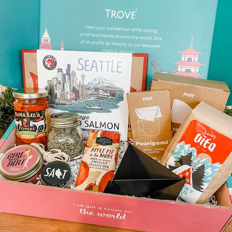 This TROVE travel subscription box features items from the City of Seattle, Washington.