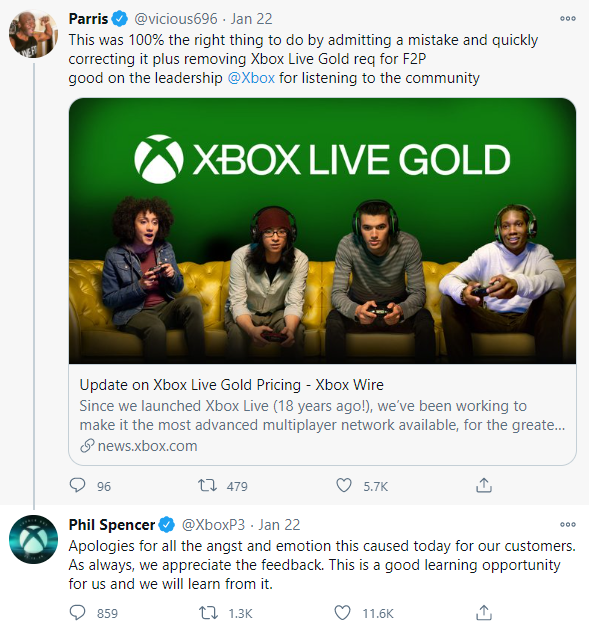 """Phil Spencer, head of Xbox at Microsoft, apologized to a user for the """"angst and emotion"""" caused by the subscription price hike for Xbox Gold Live."""