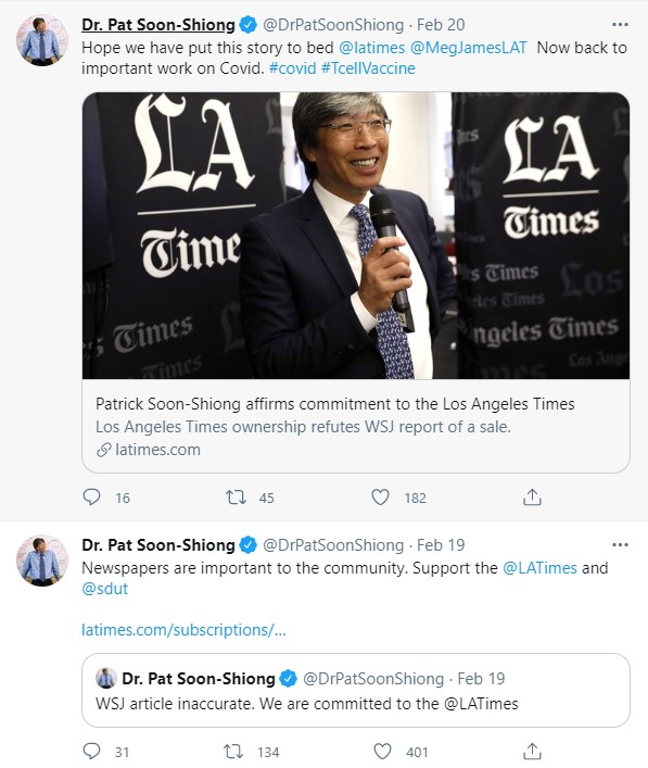 Dr. Patrick Soon-Shiong and spokespeople at California Times, the parent of the Los Angeles Times and the San Diego Union-Tribune, put rumors to rest that the organization will sell to Alden Global Capital.